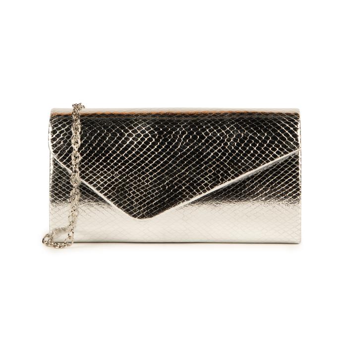 Pochette en eco-piel con estampado de serpiente color plateado, Bolsos, 155108821EVARGEUNI