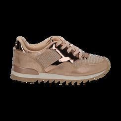 Sneakers oro in tessuto laminato e dettagli mirror, Scarpe, 130100107LMOROG036, 001 preview