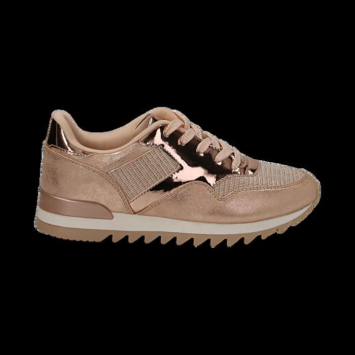 Sneakers oro in tessuto laminato e dettagli mirror, Scarpe, 130100107LMOROG036