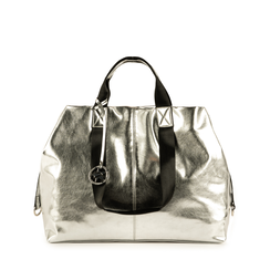 Maxi-bag argento laminato, Borse, 152392506LMARGEUNI, 001a