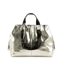 Maxi-bag argento in eco-pelle laminata, Primadonna, 152392506LMARGEUNI, 001a