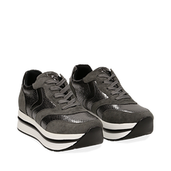 Sneakers platform grigie in eco-pelle, effetto snake skin, zeppa 4 cm , Scarpe, 142892263EVGRIG036, 002a