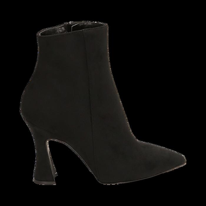 Ankle boots neri in microfibra, tacco 10 cm, Primadonna, 16G890701MFNERO036