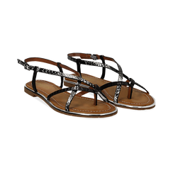 Sandali flat neri in eco-pelle, dettagli snake skin,