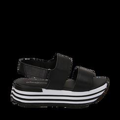 Sandali platform neri in eco-pelle, Scarpe, 136700207EPNERO035, 001a