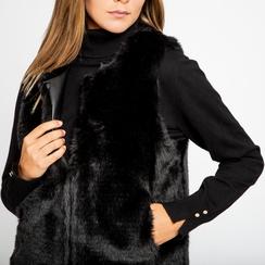 Smanicato eco-fur nero, Abbigliamento, 12B400302FUNERO, 005 preview