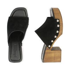 Sandali neri in camoscio, tacco 7,5 cm , Primadonna, 174304850CMNERO035, 003 preview