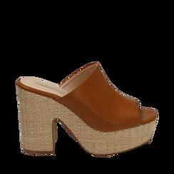 Mules cuoio in eco-pelle, tacco-zeppa 11 cm , Zapatos, 154903266EPCUOI036, 001a