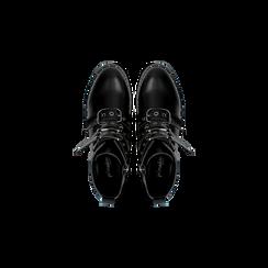 Stivaletti Biker neri con cinghie e fibbie frontali, tacco basso, Primadonna, 122881051EPNERO, 004 preview