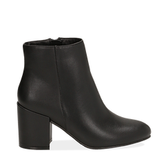 Ankle boots neri in eco-pelle, tacco 7, 50 cm , Stivaletti, 142762715EPNERO035, 001a