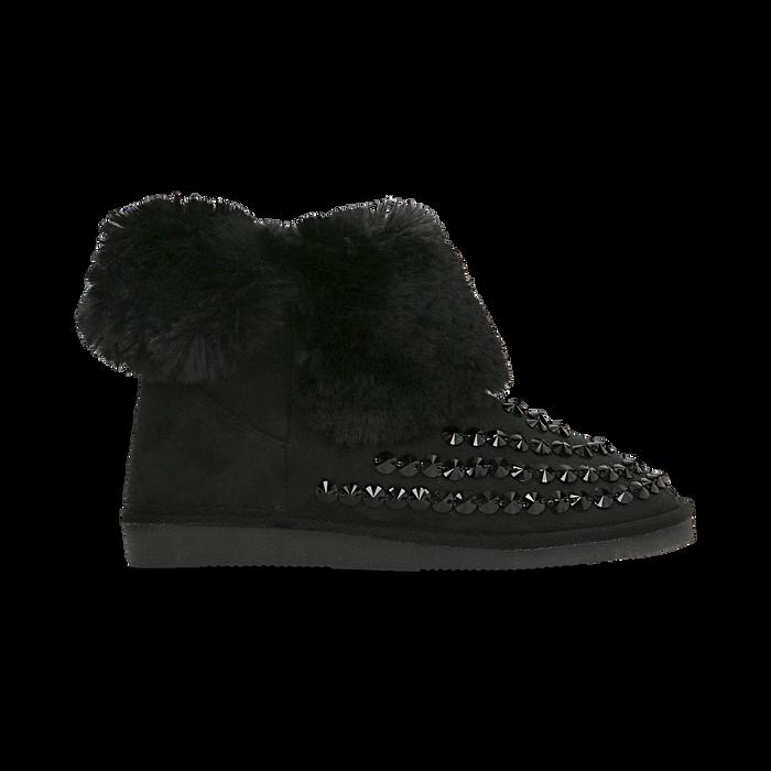 Scarponcini invernali neri con risvolto in eco-fur, Primadonna, 125001328MFNERO