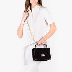 Mini bag nera in microfibra, Primadonna, 155122533MFNEROUNI, 002 preview