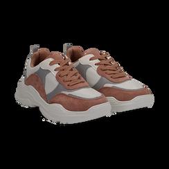 Dad shoes rosa  in nylon con dettagli metallizzati,