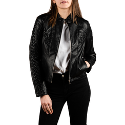 Biker jacket nera in eco-pelle, NUOVI ARRIVI, 156516115EPNEROL, 001 preview