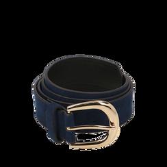Cintura blu in microfibra, Abbigliamento, 144045701MFBLUEUNI, 001a