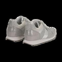 Sneakers glitter argento con dettaglio mirror, Scarpe, 132899414GLARGE036, 004 preview