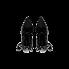 Décolleté nere con lacci sul collo del piede, tacco stiletto 10 cm, Scarpe, 122166011EPNERO, 004 preview