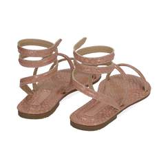 Sandali flat nude in eco-pelle snake print, Chaussures, 154928863PTNUDE036, 004 preview