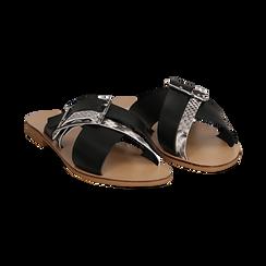Mules nere in vera pelle con dettagli snake skin, Primadonna, 133500088PENERO035, 002 preview