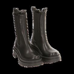 Botines Chelsea negro en piel, tacón 5 cm, Primadonna, 167277044PENERO035, 002 preview