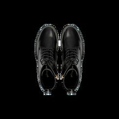 Anfibi neri con mini-borchie, tacco basso, Scarpe, 120691311EPNERO, 004 preview