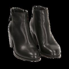 Botines en piel vitello color negro, tacón 6,50 cm, Primadonna, 15J492410VINERO035, 002a