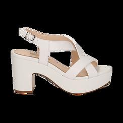 Sandali con plateau bianchi in eco-pelle, tacco 9 cm , Scarpe, 138402258EPBIAN037, 001 preview