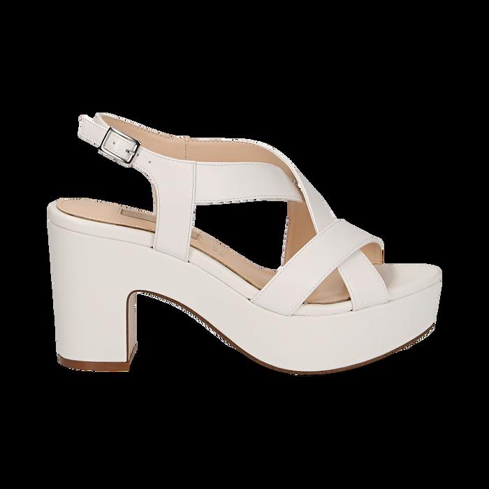 Sandali con plateau bianchi in eco-pelle, tacco 9 cm , Scarpe, 138402258EPBIAN037