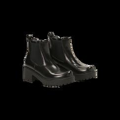 Chelsea Boots neri con suola alta, tacco 5,5 cm, 122808601ABNERO037, 002