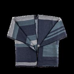 Poncho blu effetto lamé, stampa a quadri multicolore, Abbigliamento, 12B409679TSBLUE, 001a preview
