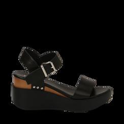 Sandali platform neri in eco-pelle, zeppa 7 cm, Scarpe, 132147321EPNERO035, 001a
