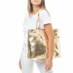 Maxi bag oro in laminato , Saldi Estivi, 133764104LMOROGUNI, 002a