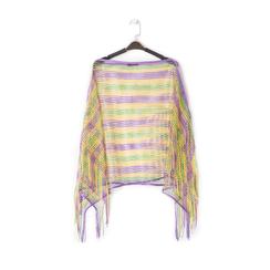 Poncho multicolor in tessuto laminato , Abbigliamento, 13B445051LMMULTUNI, 001a