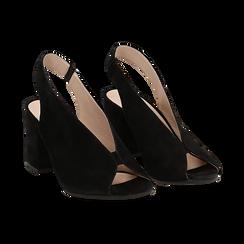 Slingback nere in camoscio, tacco 8 cm , Saldi Estivi, 13D602014CMNERO036, 002 preview
