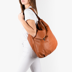 Maxi-bag  cuoio in eco-pelle, Primadonna, 151990171EPCUOIUNI, 002a