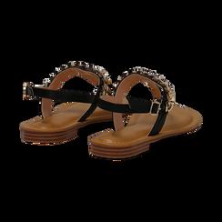Sandali infradito neri in eco-pelle con catenella, Primadonna, 134988163EPNERO035, 004 preview