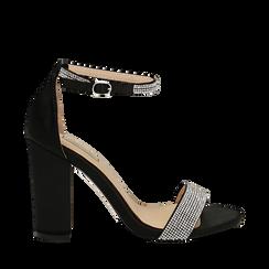 Sandali neri in raso con mini cristalli, tacco 10,5 cm, Scarpe, 132150553RSNERO035, 001a