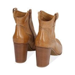 Bottines camel en cuir, talon 7,50 cm , Chaussures, 157725926PECUOI036, 004 preview
