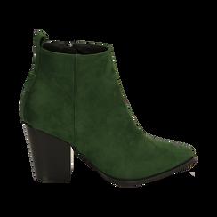 Ankle boots verdi in microfibra, tacco 8,50 cm, Primadonna, 160585965MFVERD035, 001 preview