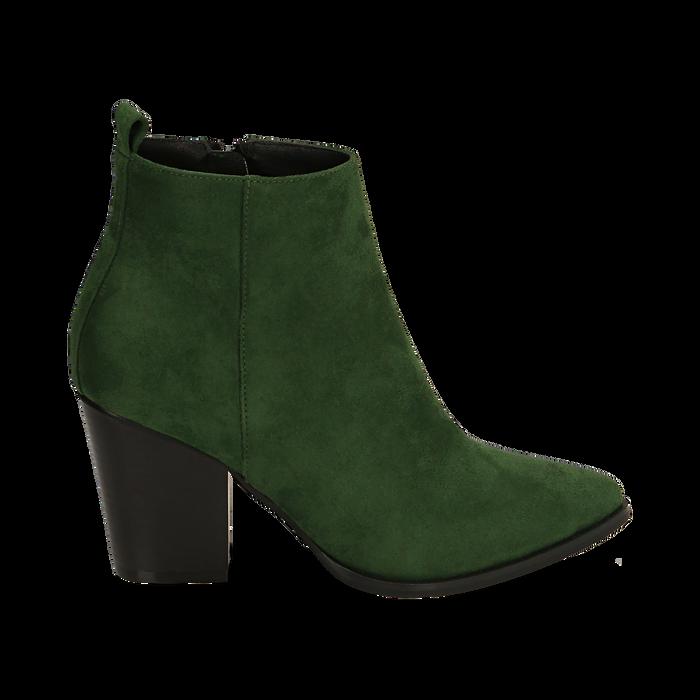 Ankle boots verdi in microfibra, tacco 8,50 cm, Primadonna, 160585965MFVERD035