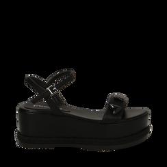 Sandali platform neri in eco-pelle con gemme, zeppa 7 cm, Scarpe, 132147681EPNERO035, 001a