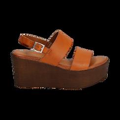 Sandali platform cuoio in eco-pelle, zeppa 8 cm, Saldi, 136700012EPCUOI037, 001 preview