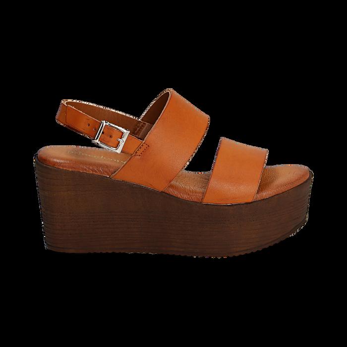Sandali platform cuoio in eco-pelle, zeppa 8 cm, Saldi, 136700012EPCUOI037