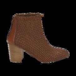 Ankle boots cuoio in pelle intrecciata, tacco 7,50 cm, Primadonna, 15C515018PICUOI036, 001 preview