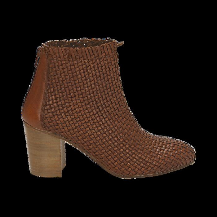 Ankle boots cuoio in pelle intrecciata, tacco 7,50 cm, Primadonna, 15C515018PICUOI036