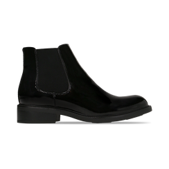 Chelsea Boots neri vernice con tacco basso, Scarpe, 120618208VENERO, 001 preview
