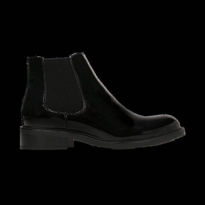 Chelsea Boots neri vernice con tacco basso, Scarpe, 120618208VENERO