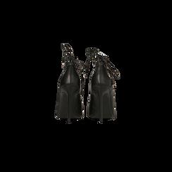 Décolleté nere con lacci sul collo del piede, tacco stiletto 10 cm, Scarpe, 122166011EPNERO, 003 preview