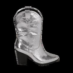 Botas camperas de ecopiel estampado de serpiente en color plateado, tacón 8 cm, Zapatos, 151198105EVARGE036, 001a
