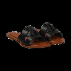 Mules nere in eco-pelle, Saldi Estivi, 133661443EPNERO036, 002 preview